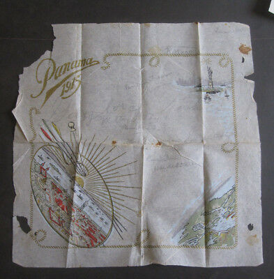 vTg 1915 Panama Pacific Expo Souvenir paper hand painted Napkin PPIE signed AtQ
