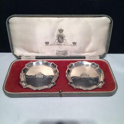 Goldsmiths + Silversmiths Set Of 2 Sterling Silver Ashtrays In Box E4011