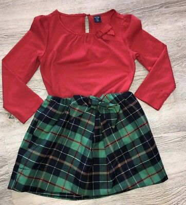 ade3a26989 Girls Crewcuts Baby Gap Outfit 3 3t 4 Read Holiday Plaid Skirt Red Shirt