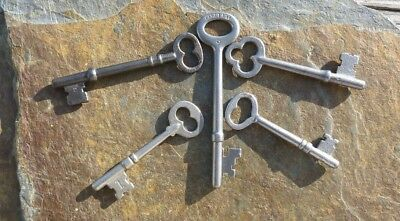 Five  Antique  Mortise Lock Skeleton Keys  Antique Door Keys