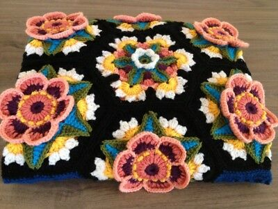 Handmade knitted chrochet colourful blanket/throw