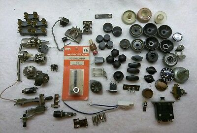 Lot of Vintage Radio Electronics Dial Knobs, potentiometers, fuse holder