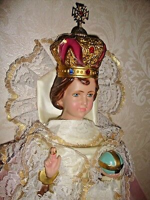 """Vintage INFANT OF PRAGUE Chalkware Statue COLUMBIA Statuary ITALY Pink 1966, 18"""""""