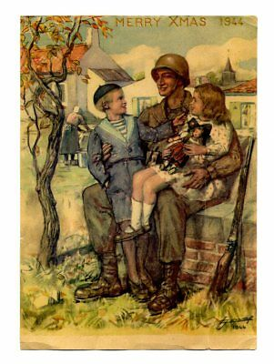 1944 French Printed CHRISTMAS CARD made for US ARMY GIs USED