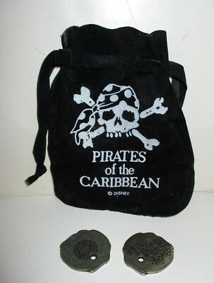 Disney World Pirates Of The Caribbean Black Pouch & Metal Coins Loot Doubloons