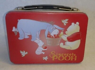 Collectible Sincerely Pooh metal lunch box. Winnie the Pooh Eeyore Piglet Small