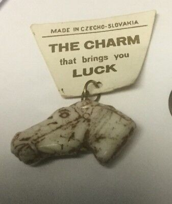 Vintage Czechoslovakia Glass Horse Head Charm With Original Tag