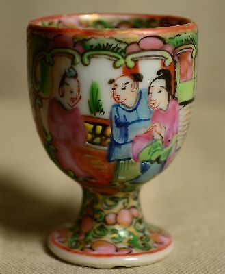 Chinese Export Rose Medallion Hand Painted Porcelain Egg Cup