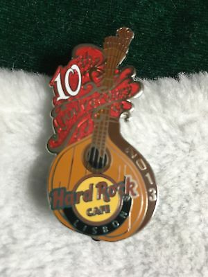 Hard Rock Cafe Pin Lisbon ~ 10th Anniversary Fado Guitar w Red Splash on Side