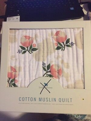 Cotton Muslin Baby QUILT Blanket 47x47 by Little Unicorn Watercolor Rose Flower