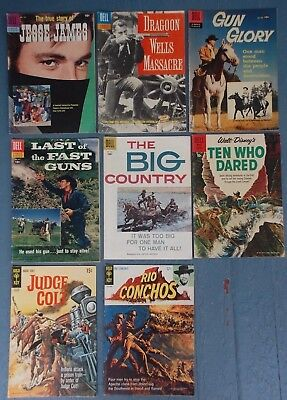 8 Dell / Gold Key Movie Classics Western Comics Silver / Golden Age Jesse James