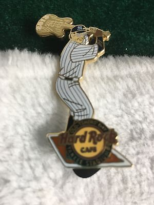 Hard Rock Cafe Pin Yankee Stadium Old Timers Day Baseball Player Swinging Guitar
