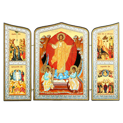"Resurrection of Christ Russian Wooden Icon Triptych 10"" Baptism Transfiguration"