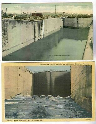 Panama Canal Before And After Construction, Miraflora Lock,lot Of 2 Postcards