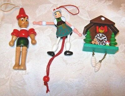 Charming Vintage Wood Christmas Ornaments~3