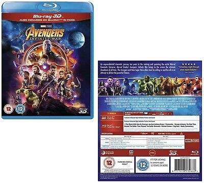 MARVEL'S AVENGERS 3 (2018) 'INFINITY WAR': Region Free 3D + 2D BLU-RAY Set - NEW