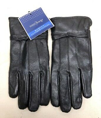 West Loop Women's Leather Gloves Black with Polyester Lining NEW!!