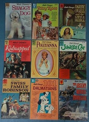 9 Dell Walt Disney Golden & Silver Age Comics / Pollyanna / 101 Dalmations