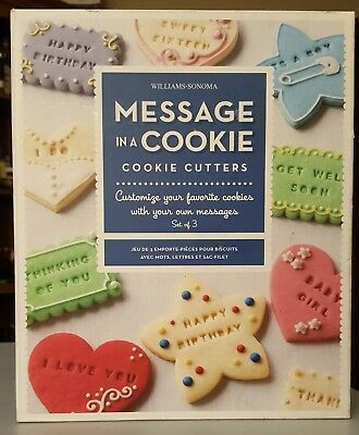 Williams Sonoma MESSAGE IN A COOKIE Cookie Cutters SET OF 3