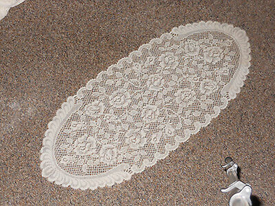 Lovely vintage white lacy oblong crochet table runner. possible handmade