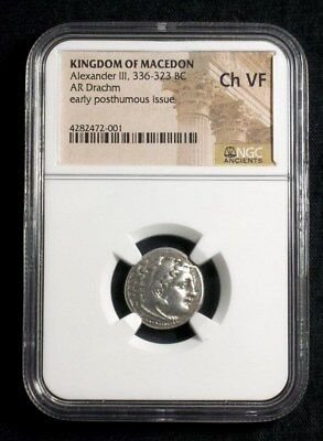 Silver Drachm of Alexander III the Great, 336-323 BC NGC Ch VF  2001