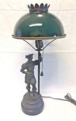 ANTIQUE FIGURAL GAS NEWEL POST OR TABLE LAMP 1860 - 1870's ELECTRIFIED