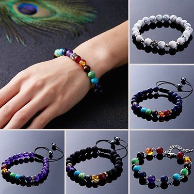 7 Chakra Healing Balance Prayer Beaded Bracelet Natural Stone Lava Yoga Jewelry