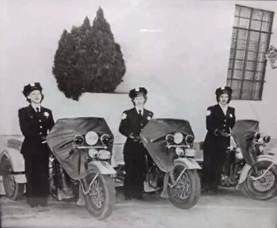 Vintage Female Women Police Department Motorcycle Re-Print Photograph