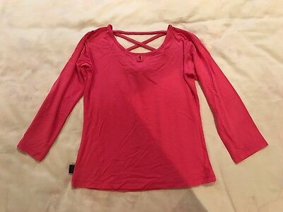 Girls Kids Hot Pink Ballet Yoga Ultra Stretchy Dance Top Tee Tieback 3/4 Sleeves