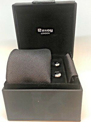 Brand New-100%Silk Tie,Pocket square and Rhodium plated Cuff Link Set