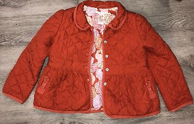 Girls Janie And Jack Orange Fall Quilted Jacket Halloween Coat 4 5 4t 5t VGUC