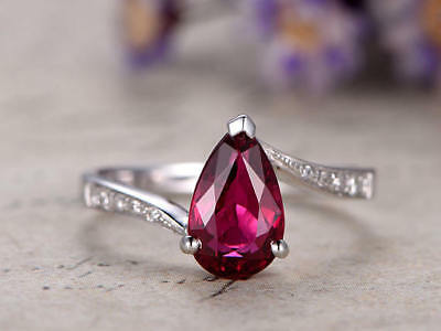 1.20Ct Pear Cut Ruby Simulant Diamond Engagement Ring Silver White Gold Finish