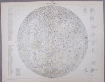 Moon Map Showing Craters Germany 1890 Meyers Lexicon