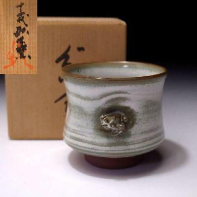 LL7: Vintage Japanese Pottery Sake cup, Tokoname ware with Signed wooden box