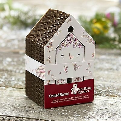 """Crate & Barrel """"pink Feathered Friend Rebuilding Together House Ornament"""" New Le"""