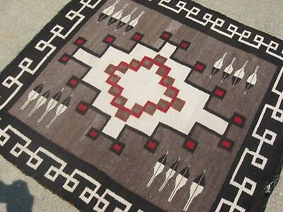 ANTIQUE CRYSTAL NAVAJO RUG! Native American Indian Hand Spun Woven FINE WEAVE!!
