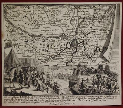 Siege Of Ghent Belgium 1720 Schenk Antique Original Copper Engraved Map