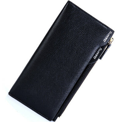 Men's Long Leather Wallet Card Package Cash Coin Purse Business Casual Wallet