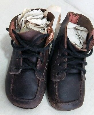 Pair of Vintage Gro-Shu Leather Baby Toddler Lace-up Boots Shoes (8024)