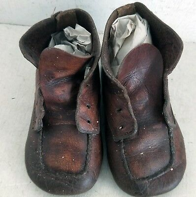 Pair of Vintage / Antique Leather Baby Toddler Lace-up Boots Shoes (8025)