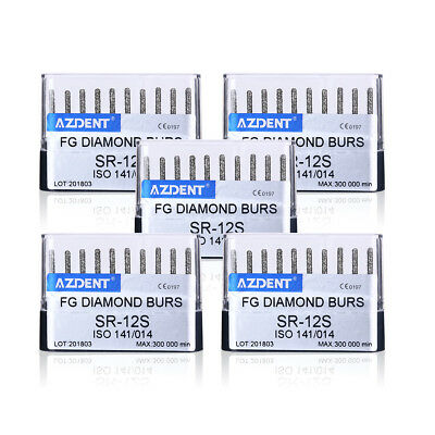 5 Packs Dental Diamond FG Burs SR-12S Round Coarse for High Speed Handpiece