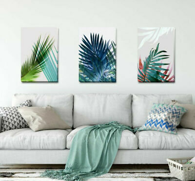 Set Of 3 Tropical Leave Stretched Canvas Print Framed Wall Art Home Decor F73