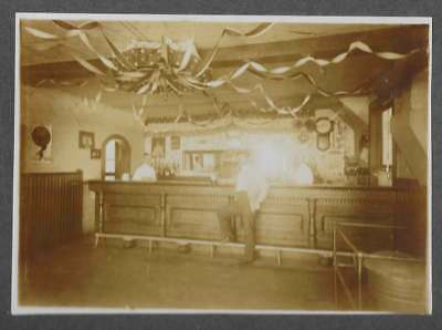 Antique Cabinet Photo, Old Saloon w/Beer Aberdeen Beer Ads & 4th of July Bunting