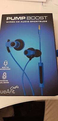 BlueAnt PUMP BOOST Blue - Wired Pump Your Bass Dual Driver Stereo Earbuds w/mic