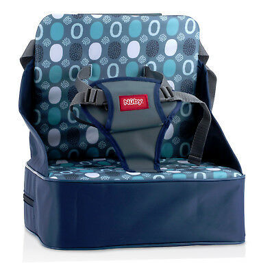 Nuby On the Go Light Weight Baby Unisex Booster Seat High Chair Grey Circles 9m+