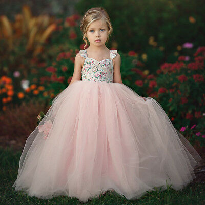 US Flower Girls Princess Dress Kids Baby Party Wedding Pageant Lace Tutu Dresses