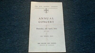 The City School Lincoln Annual Concert Programme 1957 Lincolnshire