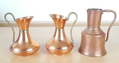 3 Vintage Copper & Brass Jugs Carafes Pitchers Ornaments Decoration Home Display