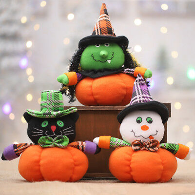 Pumpkin Cat Witch Ghost Cloth Plush Halloween Party Table Ornament Decor Eyeful