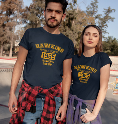 Stranger Things Hawkins Blue T-shirt Retro 1980s TV Netflix Plus Size S-3XL